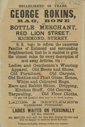 Advert For George Rokins, Rag, Bone And Bottle Waehouse